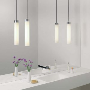 twin pendant lights in a chrome and glass finish