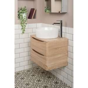 Floating vanity unit with counter-top round sink