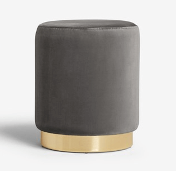 Elinore Stool with Gold Base - Grey