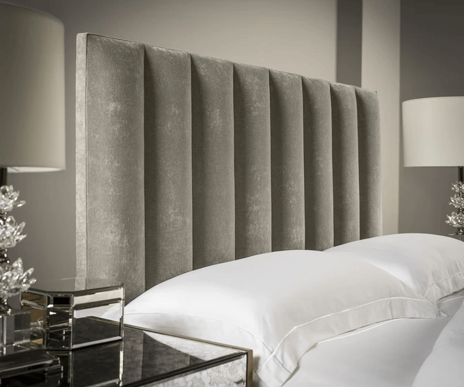Charcoal suede tubes upholstered headboard