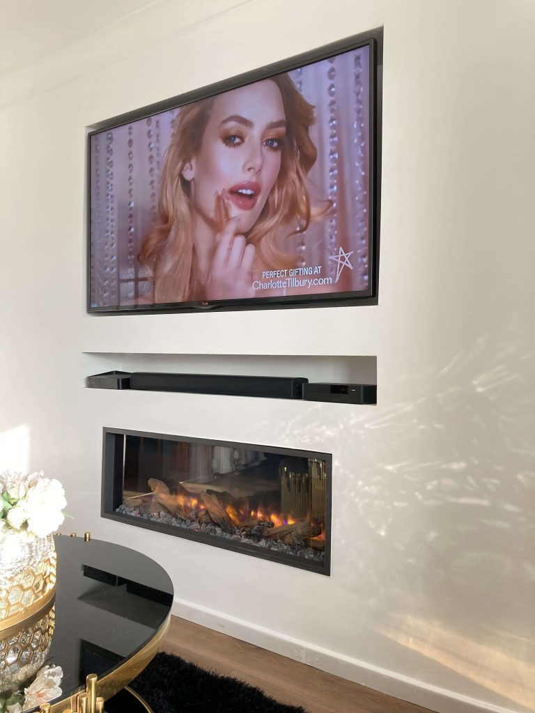 Feature Wall: Built-in TV and Electric Fire - after image
